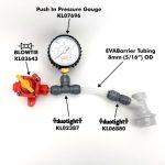 CO2 gas line pressure gauge 8mm 40psi unitank blowtie spundling valve